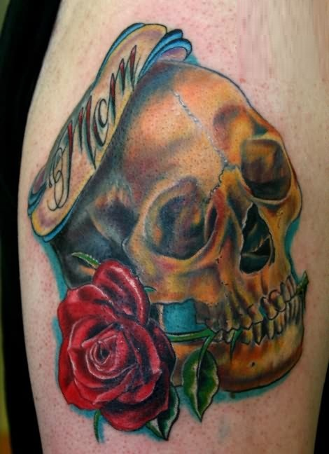 Mom Banner With Brilliant Rose And Golden Ink Skull Tattoo