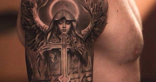 Muscular Men Show 3D Cross Holded By Saint God Mother Tattoo On Shoulder
