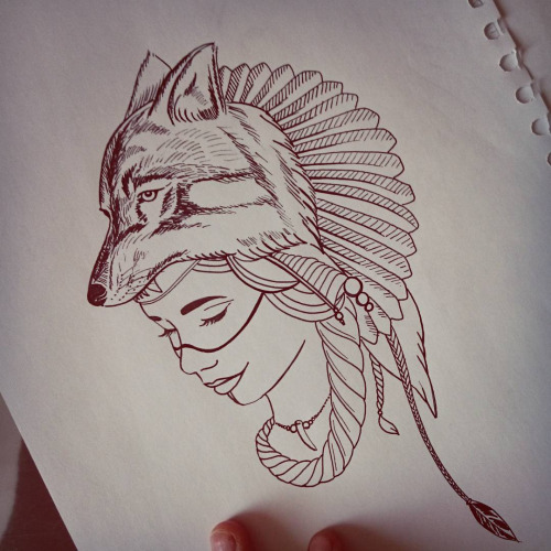 Native Girl Face And Wolf Head Tattoo Design On Paper