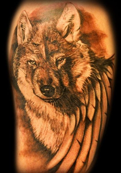 Nice Cool Wolf With Wings Tattoo Design Stencil