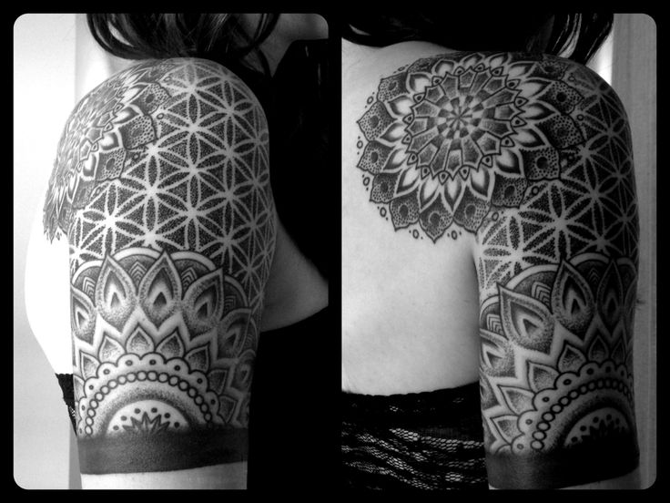 quarter half sleeve cool simple mandala tattoo. Black Bedroom Furniture Sets. Home Design Ideas