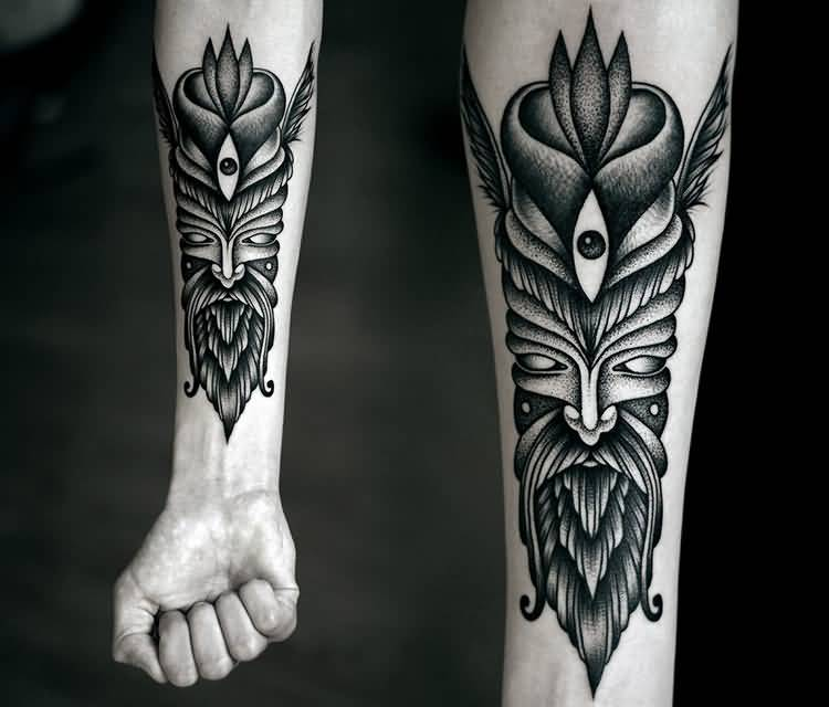 Nice Looking Dotwork Mask Tattoo Design