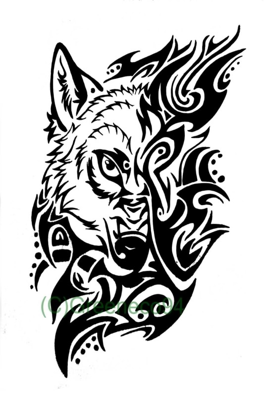 Nice One Cool Tribal Black Ink Wolf Face Tattoo Design