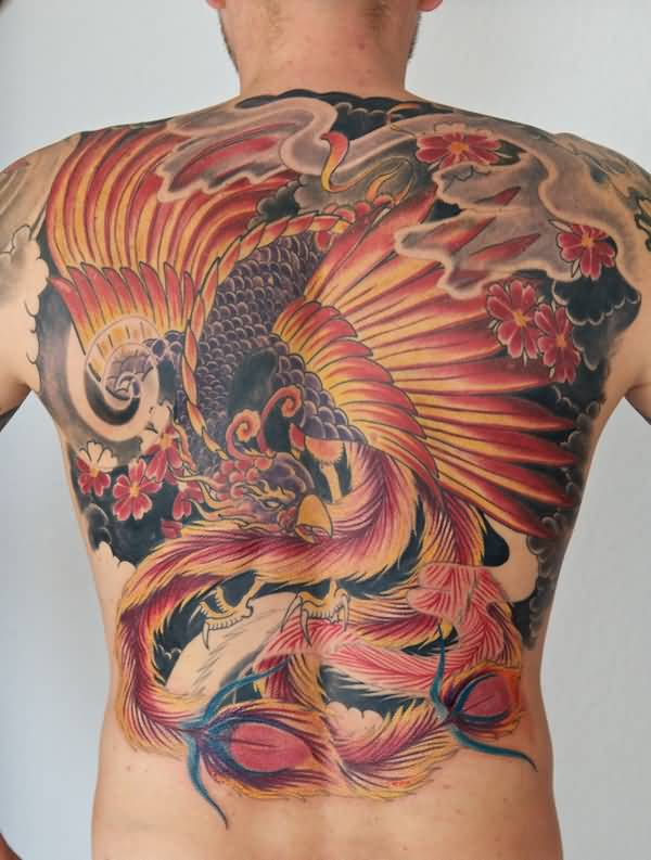 Nice Simple Full Back Phoenix Tattoo Design