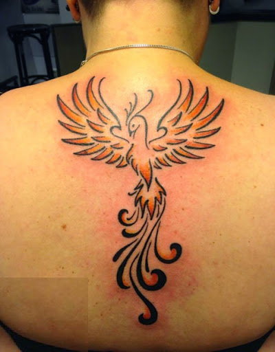 Nice Sweet Upper Back Phoenix Tattoo