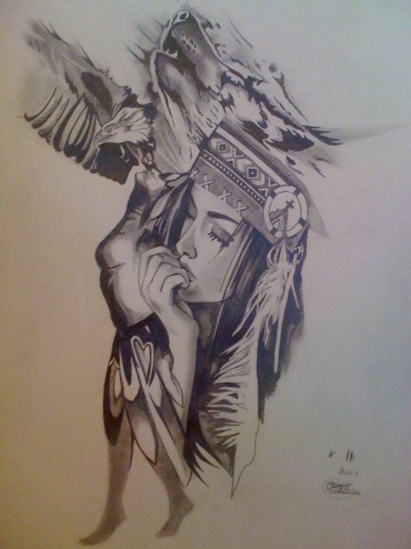 Nice Wolf And Girl Tattoo Stencil Design