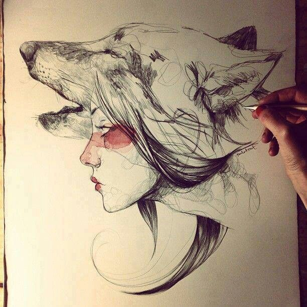 One More Girl Head On wolf Face Tattoo Stencil