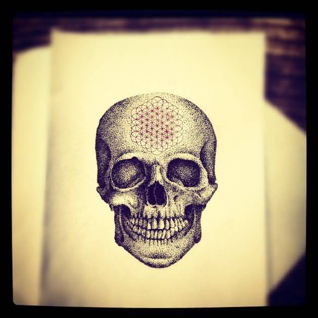 Outstanding Angry Skull Showing Teeth Dotwork Tattoo Stencil Design