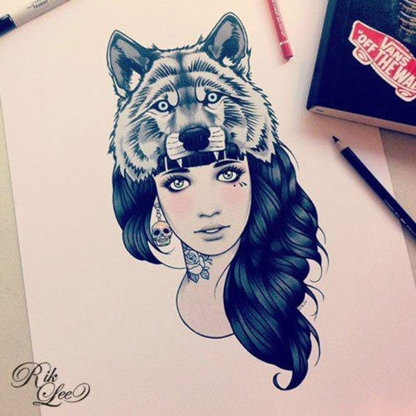 Outstanding Wolf On Girl Head Tattoo Stencil Design