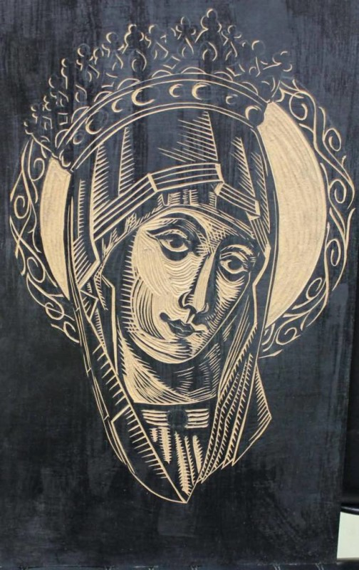 Queen Saint Mary Mother Face Of God Tattoo Stencil Design