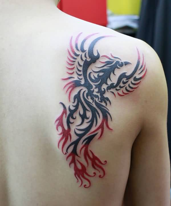 Red And Black Ink Tribal Back Shoulder Phoenix Tattoo