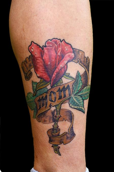 Red Nice Lovely Rose With Mom Banner Tattoo