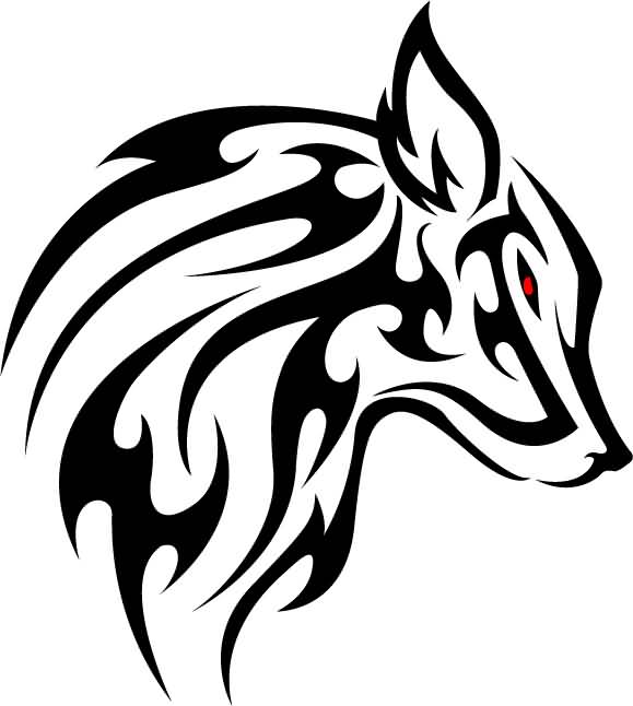 Red Scary Eye Wolf Tribal Stencil Face Tattoo
