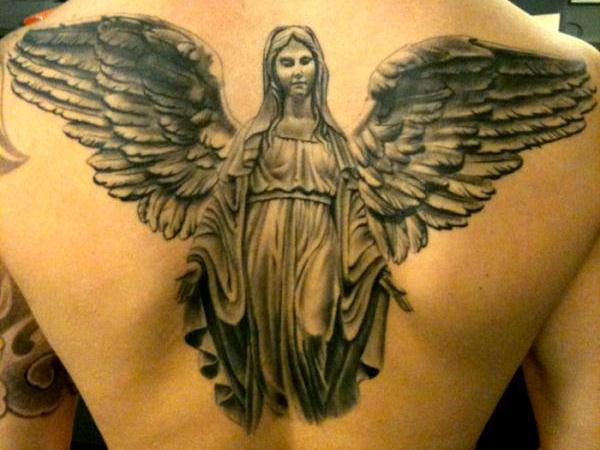 Saint Mary Mother God Flying With Wings Tattoo On Upper Back