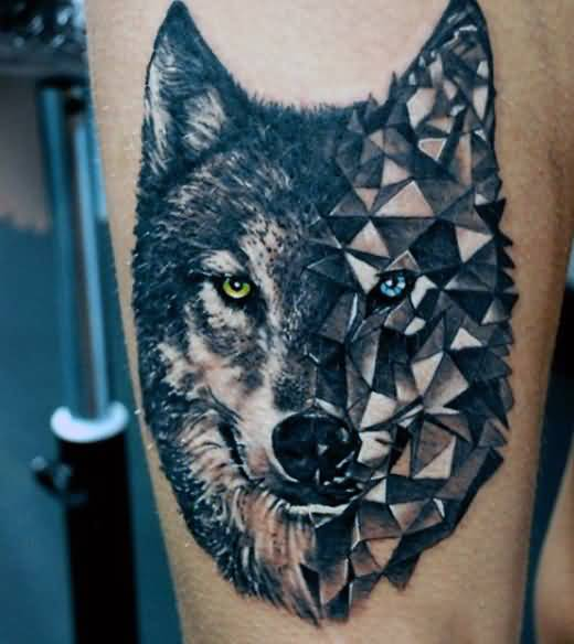 Scary Colorful Eyes Geometric Wolf Face Tattoo