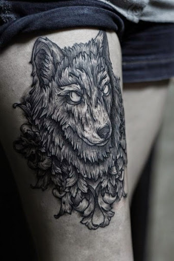 Scary Eyes Nice Thigh Tattoo Of Wolf Face