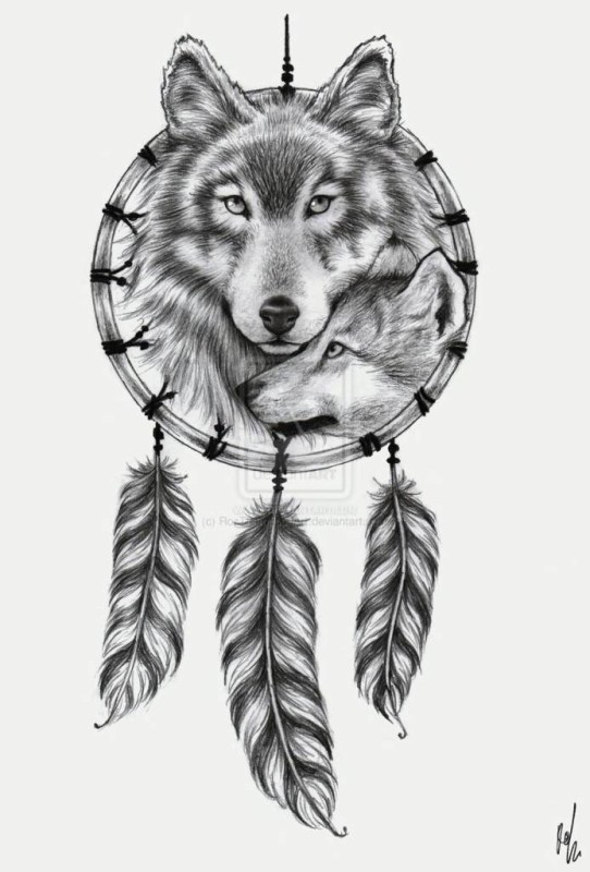 Simple Couple Wolf Dream Catcher Feather Tattoo Stencil