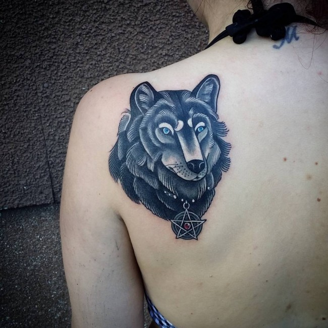 Simple Star With Old Wolf Face Tattoo For Girl On Back Shoulder