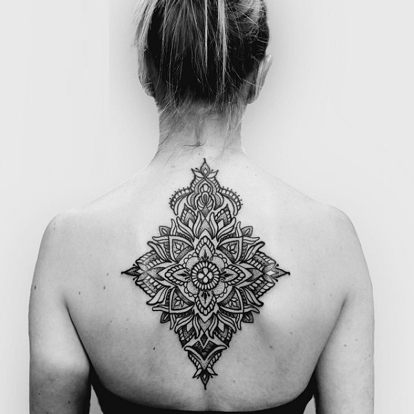 Simple Upper Back Cool Mandala Flower Tattoo