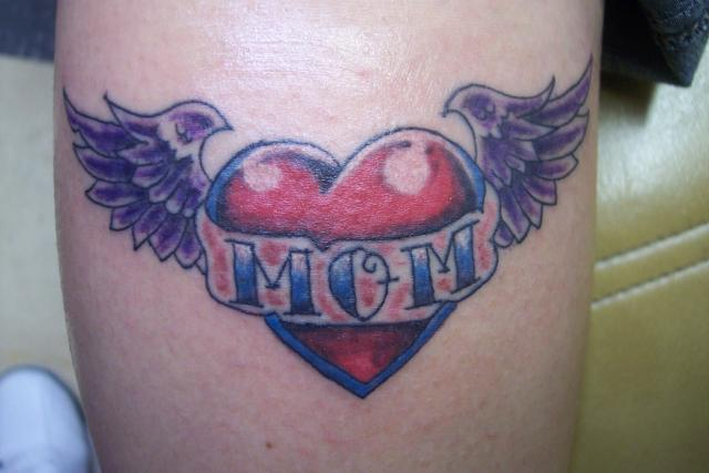 Small Dark Shade Purple Wings Mom Banner Red Heart Tattoo