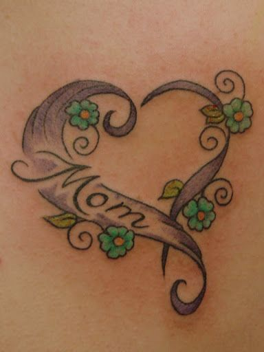 Small Flower With Designed Nice Heart Mom Banner Tattoo