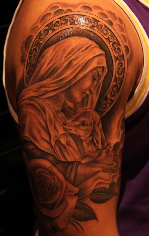 Sweet Saint Mary Mother Of Lord Tattoo With Beautiful Roses