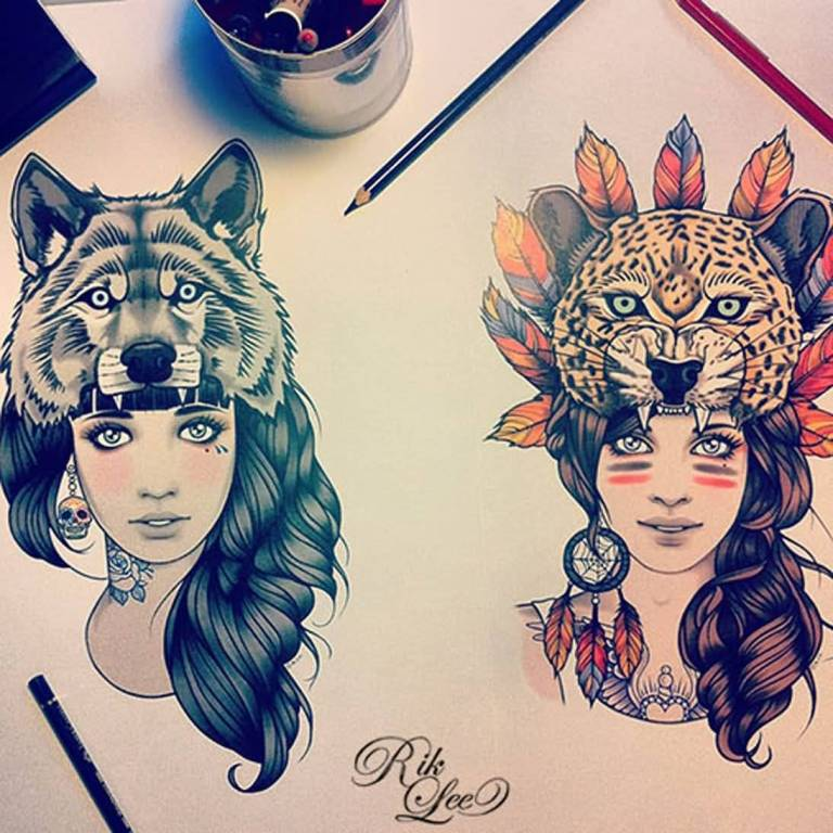 Tiger And Wolf Head On Girls Face Tattoo