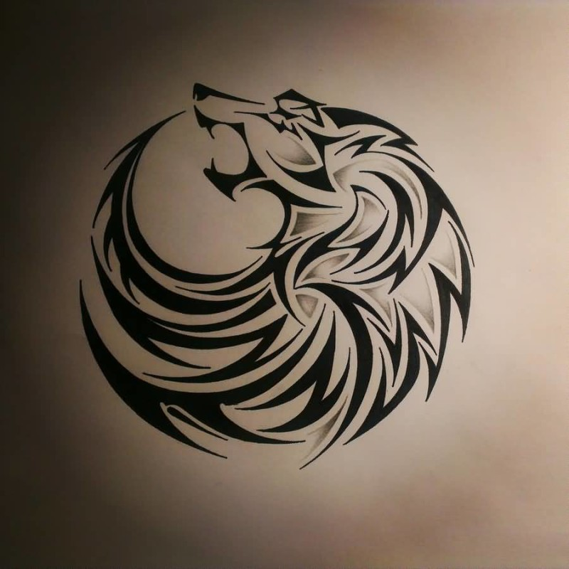 Tribal Nice Wolf Tattoo Stencil