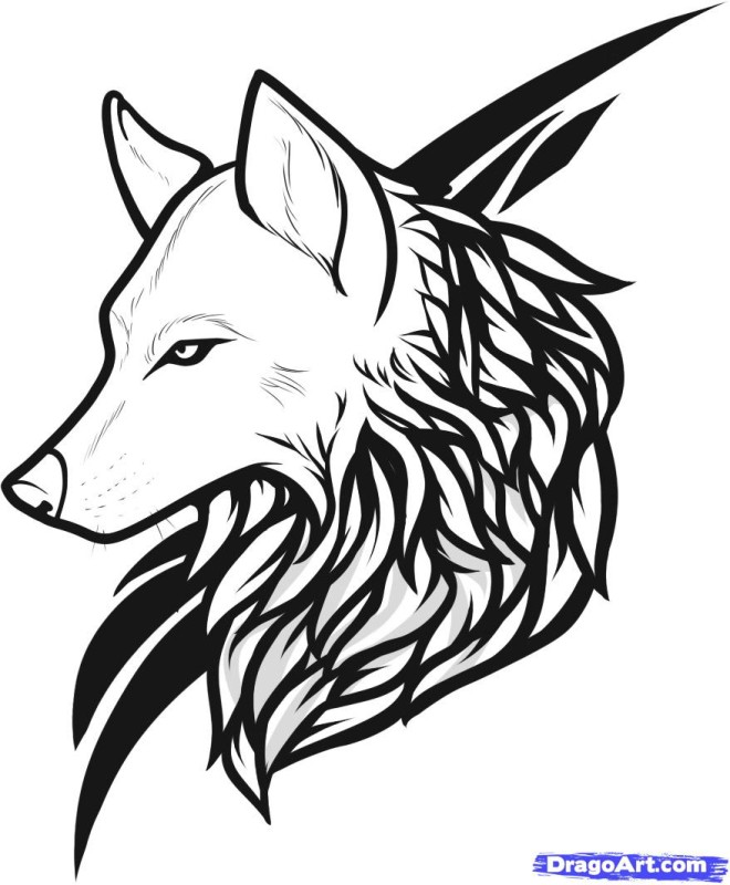 Tribal Outstanding Black Wolf Face Tattoo Design