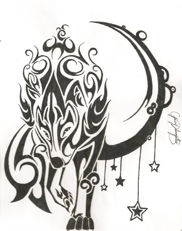 Tribal Style Moon With Walking Wolf Tattoo