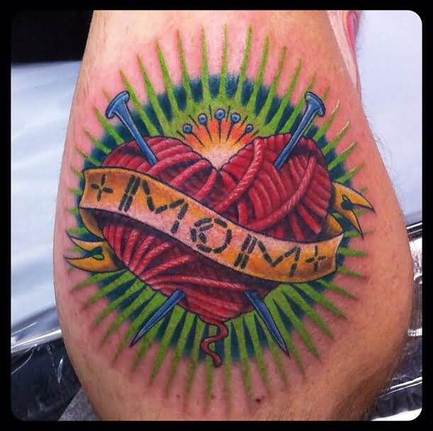 Ultimate Creative Spoon Heart With Wooden Mom Banner Tattoo On Elbow
