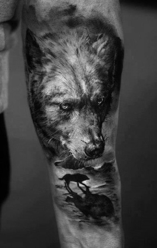 Ultimate Sleeve Cover Up With Real Wolf Face Tattoo