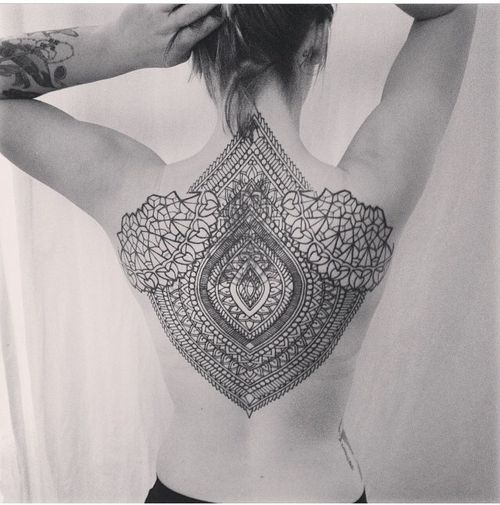 Unique Big Cool Mandala Tattoo On Upper Back