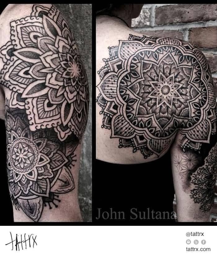 8c433c3a4 Upper Back And Sleeve Cool Nice Mandala Flower Tattoo