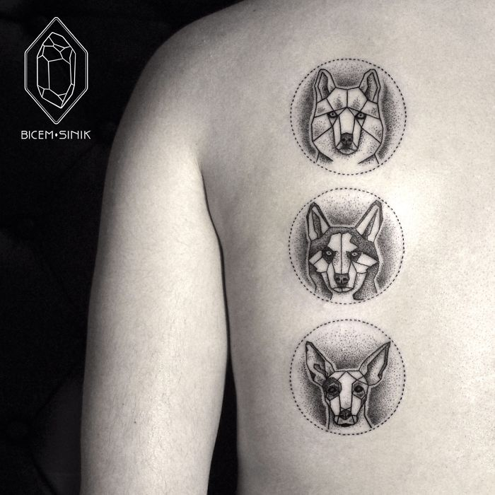 Upper Back Geometric Dotwork Faces Tattoo