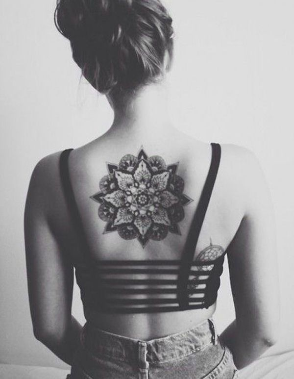 Upper Back Simple Nice Mandala flower Tattoo