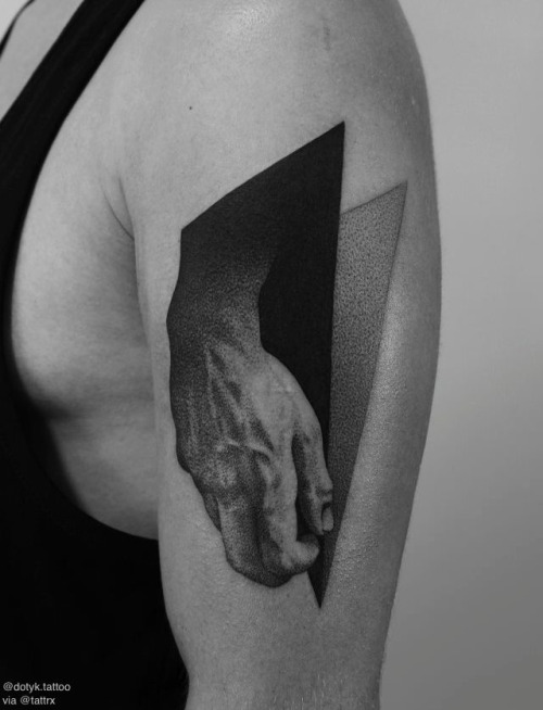Upper Sleeve 3D Dotwork Hand With Geometric Tattoo