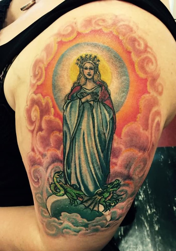 Upper Sleeve Saint Mary Mother Tattoo