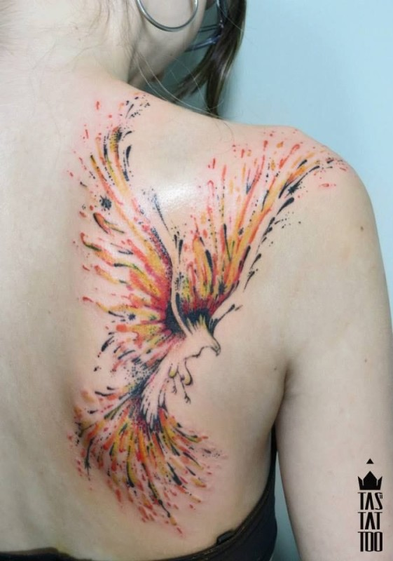 Watercolor Flying Nice Phoenix Tattoo On Back Shoulder