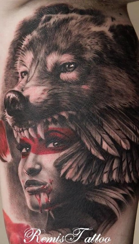 Wolf Face Head On Indian Native Girl Face Tattoo