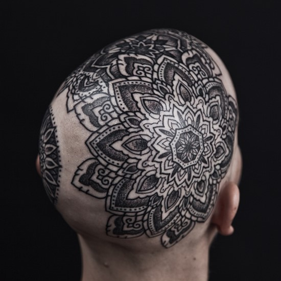 Wonderful Classy Big Mandala Flower Tattoo On Head