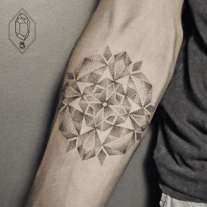 Wonderful Cool Dotwork Flower Tattoo Design Idea