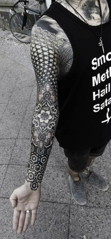 Wonderful Cool Grey And Black Ink Full Sleeve Mandala Flower Tattoo
