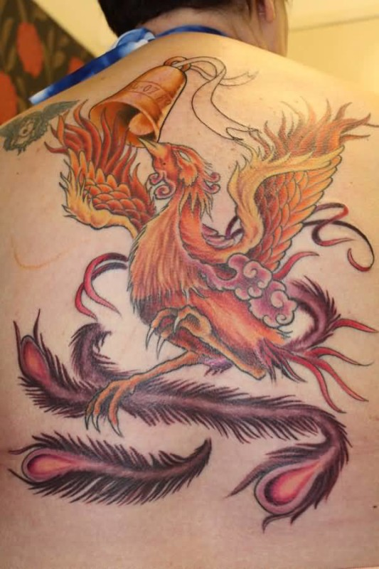 Wonderful Upper Back Phoenix Tattoo Design Idea