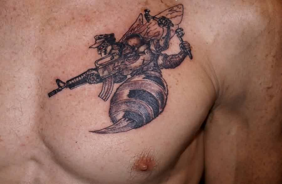 Image result for Sniper Tattoo on chest