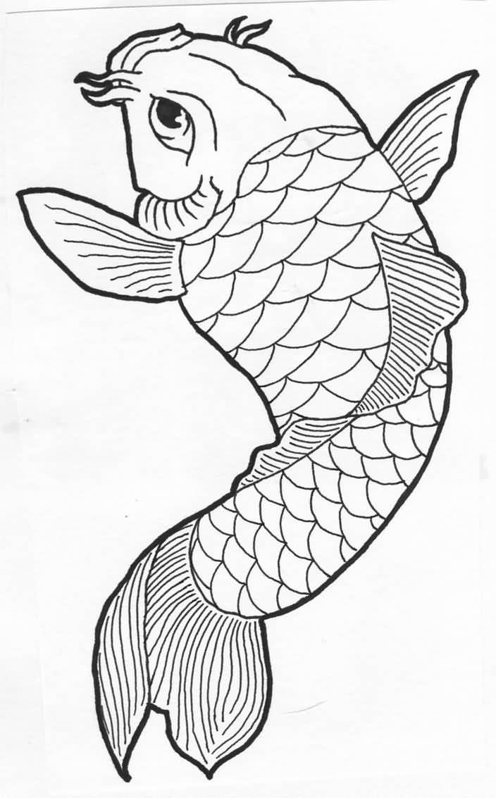 It's just a graphic of Astounding Easy Koi Fish Drawing