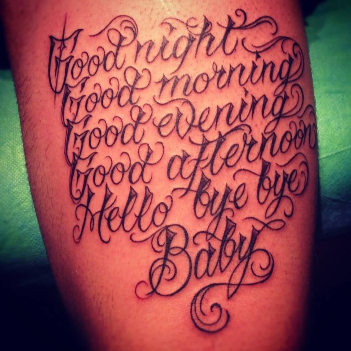 Cool Lettering Tattoo Calf